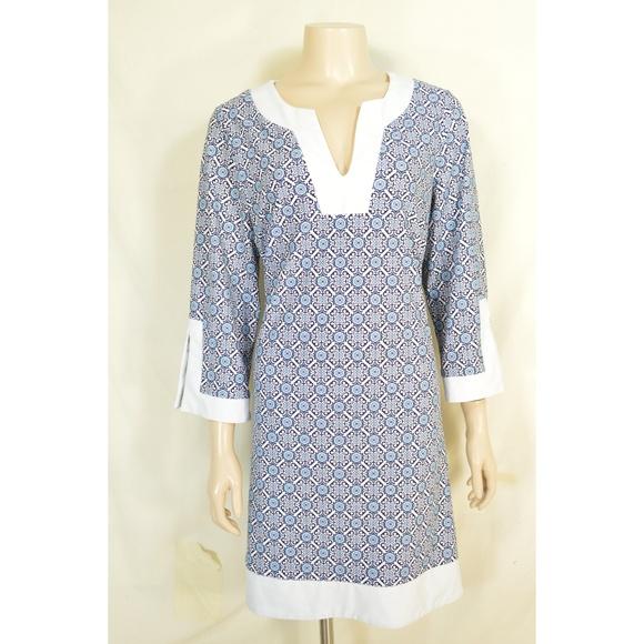 Jude Connally Dresses & Skirts - Jude Connally dress L? blue, white and aqua geomet